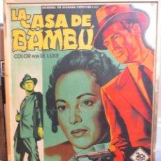 Cine: CARTEL ORIGINAL DE EPOCA - LA CASA DE BAMBU - SOLIGO - CARTEL EN MADERA BARNIZADO - ENMARCADO. Lote 245967140