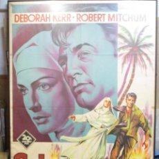 Cine: CARTEL ORIGINAL DE EPOCA - SOLO DIOS LO SABE - ROBERT MITCHUM - DEBORAH KERR - ENMARCADO. Lote 246232870