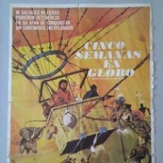 Cine: CARTEL CINE ORIGINAL - CINCO SEMANAS EN GLOBO - RED BUTTONS - AÑO 1962 - MONTALBAN ...L3481. Lote 246438765