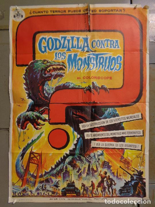 AAT76 GODZILLA CONTRA LOS MONSTRUOS ISHIRO HONDA SOLIGO POSTER ORIGINAL 70X100 ESTRENO (Cine - Posters y Carteles - Ciencia Ficción)