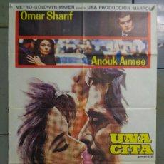 Cine: CDO 9250 UNA CITA OMAR SHARIF ANOUK AIMEE POSTER ORIGINAL 70X100 ESTRENO. Lote 246703960