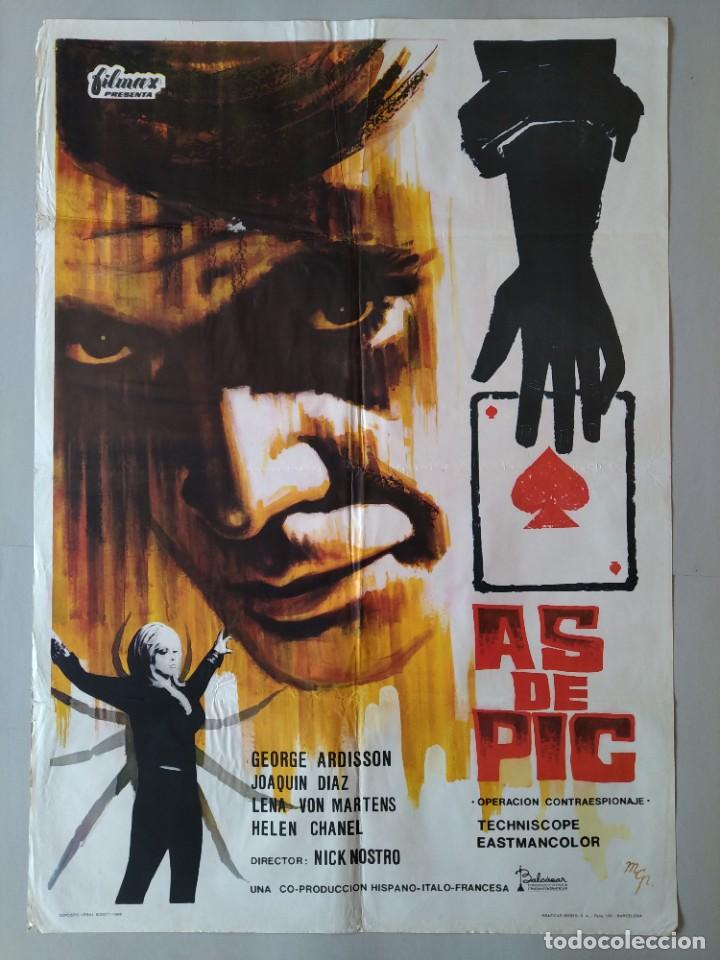 CARTEL CINE ORIGINAL - AS DE PIC - GEORGE ARDISSON - JOAQUIN DIAZ - AÑO 1966 ...L3550 (Cine - Posters y Carteles - Aventura)