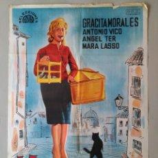 Cine: CARTEL CINE ORIGINAL - LA CHICA DEL GATO - GRACITA MORALES - ANTONIO VICO - AÑO 1962 ...L3552. Lote 247052000