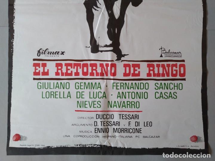Cine: CARTEL CINE ORIGINAL - EL RETORNO DE RINGO - GIULIANO GEMMA - FERNANDO SANCHO AÑO 1966...L3554 - Foto 3 - 247053955