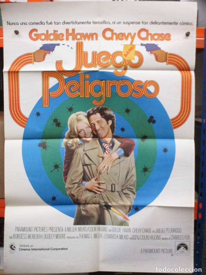CARTEL ORIGINAL DE EPOCA - JUEGO PELIGROSO - CHEVY CHASE - GOLDIE HAWN - 100 X 70 (Cine - Posters y Carteles - Comedia)