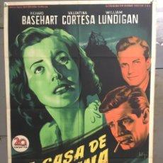 Cine: AAV14 LA CASA DE LA COLINA RICHARD BASEHART SOLIGO POSTER ORIGINAL ESTRENO 70X100 LITOGRAFIA. Lote 21876393