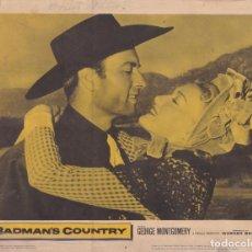 Cinema: BADMANS COUNTRY – GEORGE MONTGOMERY - WARNES BROS – CARTEL CINE – LOBBY CARD – 1958 - (35,5X28). Lote 247346240