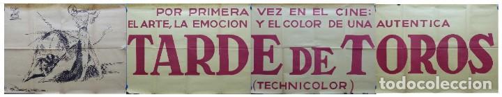 TARDE DE TOROS, CARTEL GRANDE DE 4 PIEZAS - AÑO 1956 - 348X64 CM. (Cine - Posters y Carteles - Clasico Español)