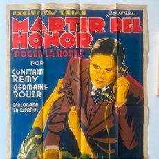 Cine: MARTIR DEL HONOR CARTEL DE CINE DE 1933 APROX. EXCLUSIVAS BARCELONA , LITOGRAFIA. Lote 251405030