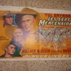 Cine: CARTEL ORIGINAL BELGA LES SEPT MERCENAIRES, THE MAGNIFICENT SEVEN, STEVE MCQUEEN, YUL BRYNNER,. Lote 251433235