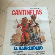 Cinema: POSTER / CARTEL DE CINE ORIGINAL MARIO MORENO CANTINFLAS. EL BARRENDERO. 100 X 70 CM. Lote 252329755