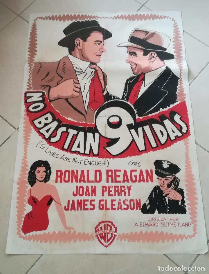 POSTER / CARTEL DE CINE ORIGINAL. NO BASTAN 9 VIDAS. RONALD REAGAN. MUY RARO!!!. 70 X 100 CM (Cine- Posters y Carteles - Drama)
