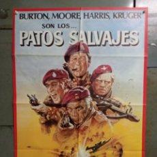 Cine: CDO K187 PATOS SALVAJES RICHARD BURTON ROGER MOORE HARRIS POSTER ORIGINAL 70X100 ESTRENO. Lote 254578895
