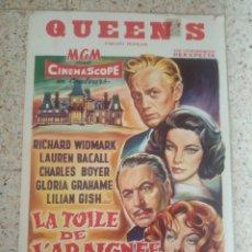 Cine: CARTEL ORIGINAL BELGA QUEEN'S, LA TELA DE ARAÑA, LAUREN BACALL, CHARLES BOYER, LILIAN GISH. Lote 254928960