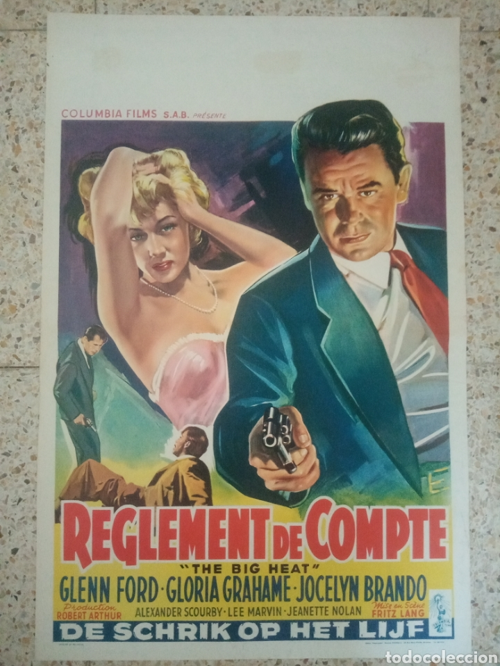 CARTEL ORIGINAL BELGA THE BIG HEAT, LOS SOBORNADOS, GLENN FORD, FRITZ LANG (Cine- Posters y Carteles - Drama)
