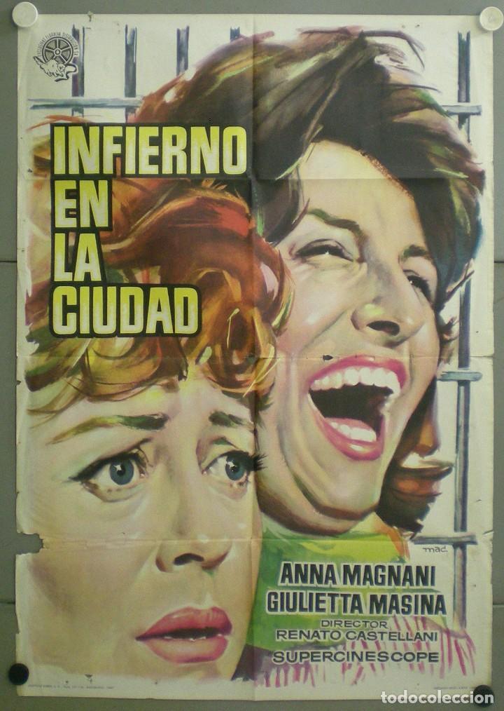 AAU87D INFIERNO EN LA CIUDAD ANNA MAGNANI GIULETTA MASINA POSTER ORIGINAL 70X100 ESTRENO (Cine- Posters y Carteles - Drama)