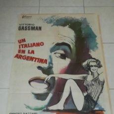 Cine: POSTER / CARTEL DE CINE ORIGINAL. UN ITALIANO EN LA ARGENTINA. VITTORIO GASSMAN. 100 X 70CM.. Lote 254972040