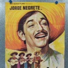 Cine: ALLÁ EN EL RANCHO GRANDE.JORGE NEGRETE, LILIA DEL VALLE. AÑO 1974. POSTER ORIGINAL. Lote 255948710