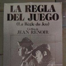 Cine: CDO K318 LA REGLA DEL JUEGO JEAN RENOIR POSTER ORIGINAL 70X100 ESTRENO. Lote 257398875