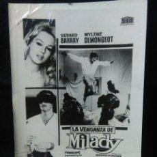 Cine: ANTIGUO CARTELITO DE CINE ,LA VENGANZA DE MILADY ,GERARD BARRAY ,MYLENE DEMOGEOT. Lote 257582220