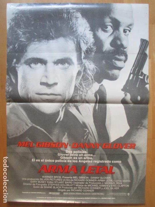 CARTEL CINE ARMA LETAL MEL GIBSON DANNY GLOVER 1987 C1997 (Cine - Posters y Carteles - Acción)