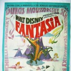 Cinéma: FANTASÍA, DE WALT DISNEY. PÓSTER 68,5 X 91 CMS. 1976.. Lote 260063775