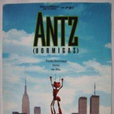 Cine: ANTZ (HORMIGAZ), ANIMACIÓN. MINI PÓSTER DE TEATRO . 26 X 35 CMS.. Lote 260281685