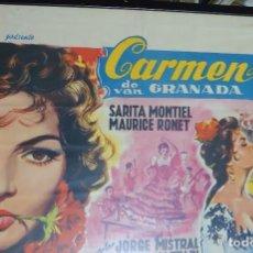 Cine: SARITA MONTIEL CARTEL BELGA DE LA PELÍCULA CARMEN LA DE RONDA 35 X 54 CTMS.... Lote 260312710