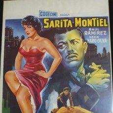 Cine: SARITA MONTIEL CARTEL BELGA DE LA PELÍCULA LA BELLE DE MEXICO 35 X 54 CTMS.... Lote 260313000