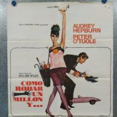 Cine: CÓMO ROBAR UN MILLÓN Y.... PETER O'TOOLE, AUDREY HEPBURN. AÑO 1977. POSTER ORIGINAL. Lote 260665930