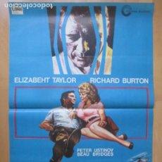 Cine: CARTEL CINE PACTO CON EL DIABLO ELIZABETH TAYLOR RICHARD BURTON JANO 1973 C2039. Lote 261520060