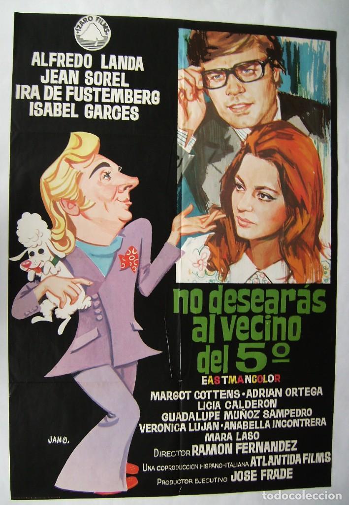 NO DESEARÁS AL VECINO DEL 5º, CON ALFREDO LANDA . PÓSTER.. 66,5 X 96,5 CMS.1970, DISEÑO: JANO. (Cine - Posters y Carteles - Comedia)