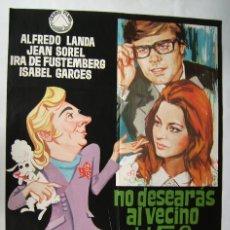 Cine: NO DESEARÁS AL VECINO DEL 5º, CON ALFREDO LANDA . PÓSTER.. 66,5 X 96,5 CMS.1970, DISEÑO: JANO.. Lote 261843470