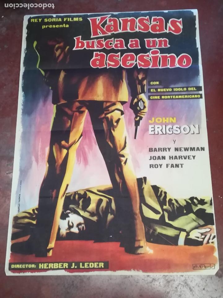 POSTER / CARTEL DE CINE ORIGINAL. KANSAS BUSCA A UN ASESINO. JOHN ERICSON. 100 X 70CM. (Cine - Posters y Carteles - Acción)