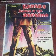 Cine: POSTER / CARTEL DE CINE ORIGINAL. KANSAS BUSCA A UN ASESINO. JOHN ERICSON. 100 X 70CM.. Lote 261847570