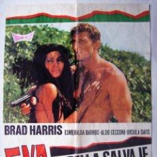 Cine: EVA, LA BELLA SALVAJE, CON BRAD HARRIS. POSTER. 65,5 X 90 CMS.1977,. Lote 261863825