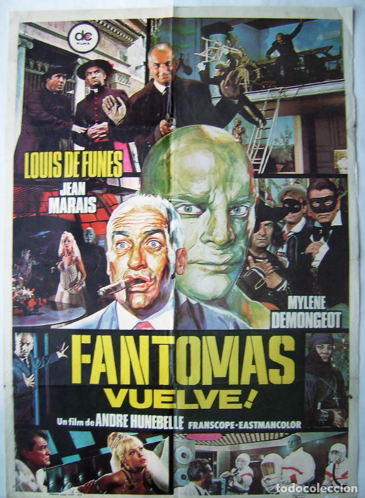 FANTOMAS VUELVE, CON JEAN MARAIS. POSTER. 70 X 98,5 CMS. 1975. (Cine - Posters y Carteles - Suspense)