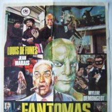 Cine: FANTOMAS VUELVE, CON JEAN MARAIS. POSTER. 70 X 98,5 CMS. 1975.. Lote 261866640