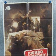 Cine: QUIERO LA VERDAD. MICHAEL MORIARTY, YAPHET KOTTO, SUSAN BLAKELY. AÑO 1975. POSTER ORIGINAL. Lote 262245570