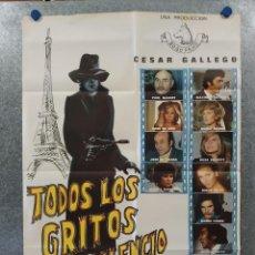 Cine: TODOS LOS GRITOS DEL SILENCIO. PAUL NASCHY, MIRTA MILLER, PALOMA CELA. AÑO 1975. POSTER ORIGINAL. Lote 262264535