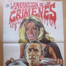 Cine: CARTEL CINE LA MANSION DE LOS CRIMENES CHRISTOPHER LEE PETER CUSHING 1971 MONTALBAN C2058. Lote 262384685