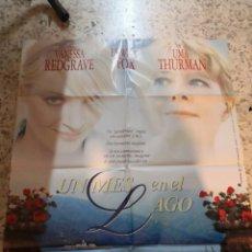 Cine: UN MES EN EL LAGO - VANESSA REDGRAVE, UMA THURMAN, EDWARD FOX - POSTER ORIGINAL LAUREN 1996. Lote 262684295