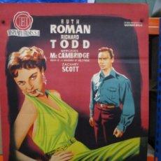 Cine: LA LUZ BRILLO DOS VECES - RUTH ROMAN - KING VIDOR - POSTER ORIGINAL - 100 X 70 - LITOGRAFIA. Lote 262703310