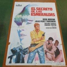 Cine: CARTEL DE CINE ORIGINAL DE 1966, EL SECRETO DE LAS ESMERALDAS, 100 CM X 70 CM, PLEGADO.. Lote 262829520
