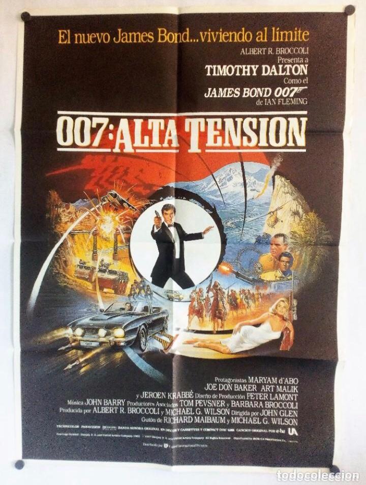 """007: ALTA TENSIÓN """"JAMES BOND"""". CARTEL ORIGINAL PROMOCIONAL DEL ESTRENO (1987). (Cine - Posters y Carteles - Acción)"""