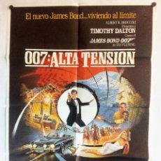 """Cine: 007: ALTA TENSIÓN """"JAMES BOND"""". CARTEL ORIGINAL PROMOCIONAL DEL ESTRENO (1987).. Lote 263259895"""