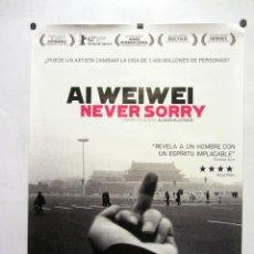 Cine: AI WEIWEI NEVER SORRY. CARTEL PROMOCIONAL DE LA PELÍCULA DOCUMENTAL SOBRE EL ARTISTA CHINO.. Lote 263266490