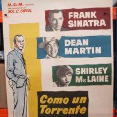 Cine: COMO UN TORRENTE - SINATRA / MARTIN / MAC LAINE - 1959 - CARTEL / POSTER ORIGINAL - 100 X 70. Lote 263388290