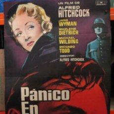 Cine: PANICO EN LA ESCENA - HITCHCOCK - DIETRICH - WYMAN - CARTEL / POSTER ORIGINAL - 100 X 70. Lote 263535085