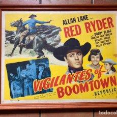 Cine: CARTEL ENMARCADO ORIGINAL DE CINE WESTERM U.S.A 1947 VIGILANTES OF BOOMTOWN. Lote 263564230